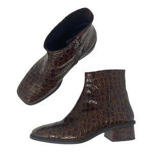 L'intervalle Brown Faux Alligator Square Toe Boot